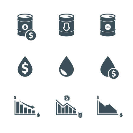 drop down: oil price icon set. drop in oil prices. the global oil crisis. oil down infographic. isolated on white background.