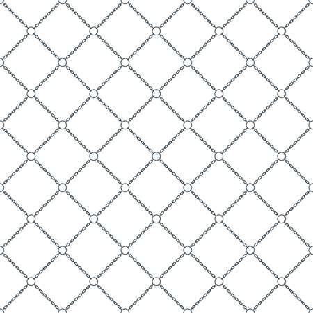 marine seamless pattern background with chain. diagonal chain connected rings.