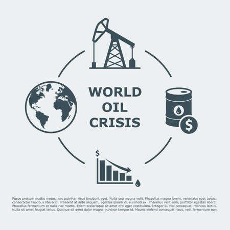 economia: mundo infografía crisis del petróleo. caída de los precios del petróleo. aceite por concepto.
