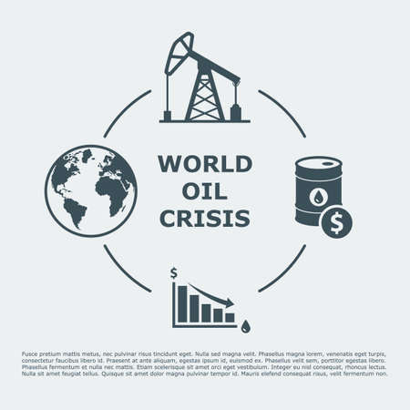 energy crisis: world oil crisis infographic. drop in oil prices. oil down concept.
