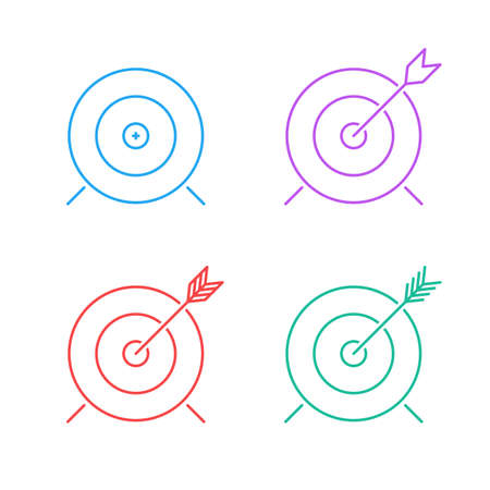 advantage: target icon set. flat line advantage icon. successful shot in the darts target. isolated on white background.