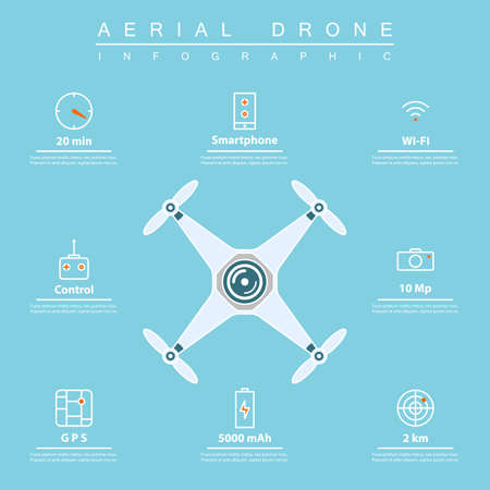 controlling: air drone infographic. thin line icons of drone feature: flight time, smartphone controlling, gps navigation, etc. drone characteristic for aerial photography or footage. Illustration