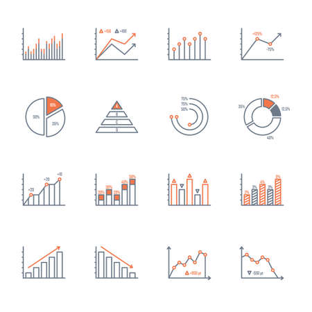 graphs and charts thin line icons set. data elements, bar and pie, diagrams for business infographics. visualization of data statistic and analytics. isolated on white background. Çizim