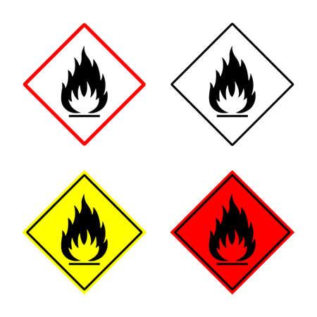 inflammable signe ensemble. signe inflammable ou un symbole placé dans rhomb. emblème inflammable. isolé sur fond blanc.