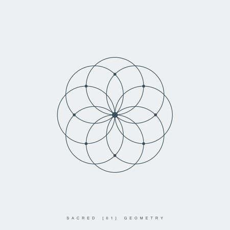sacred geometry. lotus flower. mandala ornament. esoteric or spiritual symbol. isolated on white background.