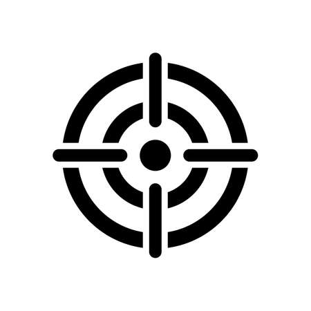 target icon. cross hair in the center of dart target. isolated on white background.