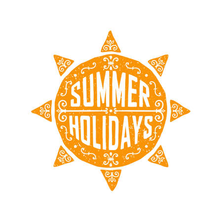 vacation time: typographic print with hand drawn sun, doodle typography poster. summer holidays, summer vacation, time to travel. can be used to decorate banners, brochures or print on t-shirts.