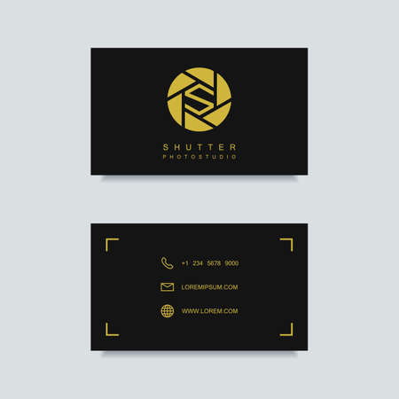 business card template: photography business card template. photography emblem. photo studio emblem. photographer business card. clean and minimalism flat style.