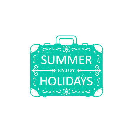 enjoy summer holidays lettering. hand drawn motivational quote on vintage suitcase. doodle typography poster.