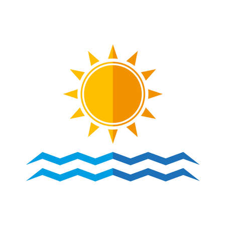 sun and sea waves. flat design. isolated on white background.