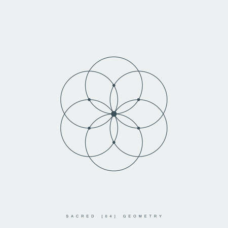 la flor de la vida. geometría sagrada. flor de loto. ornamento mandala. símbolo esotérico o espiritual. aislado sobre fondo blanco.