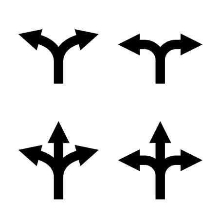 direction arrow sign set. uncertainty choice. unknown direction. two and three way arrow symbol. double and triple arrows. isolated on white background.