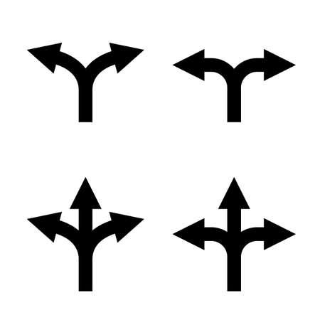 richting pijl teken in te stellen. onzekerheid keuze. onbekende richting. twee en drie weg pijl-symbool. dubbele en driedubbele pijlen. geïsoleerd op een witte achtergrond.