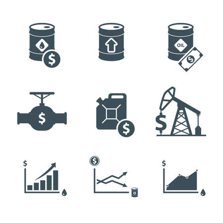 oil price icon set. oil prices up. crude oil barrel cost. rise in oil prices. graph growth infographic. isolated on white background.