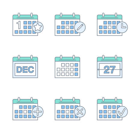 calendar thin line icons set. linear calendar icons collection. flat outline style. isolated on white background.
