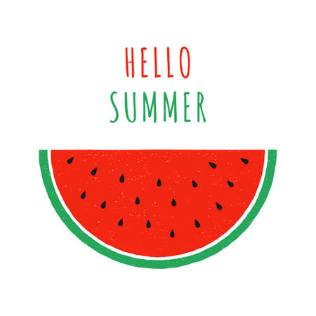 hand drawn slice of watermelon. doodle watermelon. hand drawing fruit. vector print with watermelon. isolated on white background.  イラスト・ベクター素材
