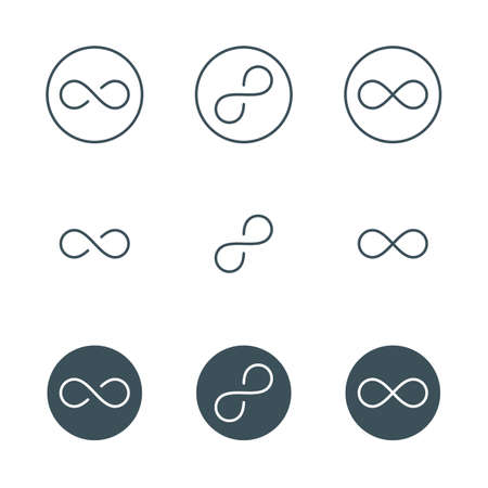 infinite symbol: thin line infinity symbol or sign. infinity emblem concept in modern flat outline style. linear infinity icon. limitless symbol. infinite sign. isolated on white background.