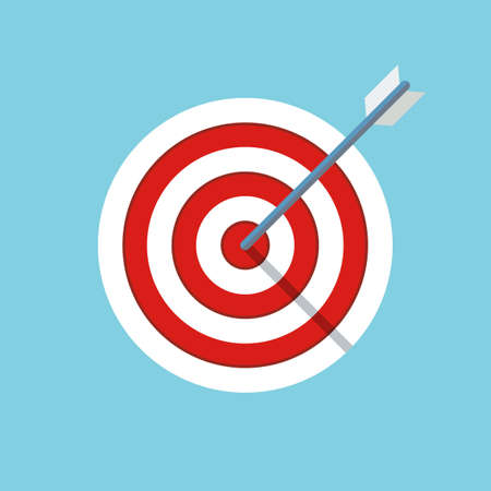 target or objective icon. business objective concept. successful shot in the darts target. dartboard with arrow. isolated on blue background.