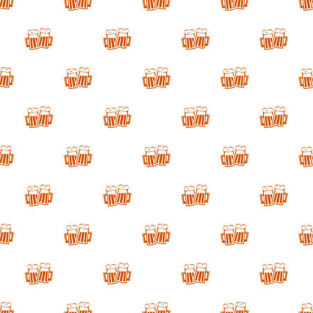 beer seamless pattern background. two cheers mugs with foamy beer. isolated on white background.