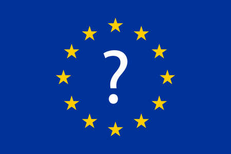 flag of the european union with the question mark in the center. eurozone crisis. future of the european union concept.