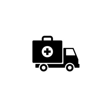 ambulance car icon. first aid kit on wheels sign or symbol. isolated on white background.