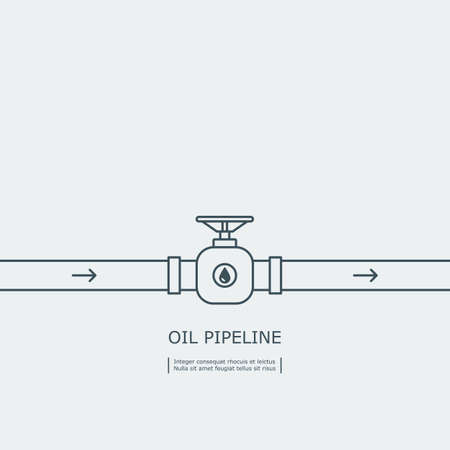 thin line oil pipeline with a stopcock concept. isolated on white background.
