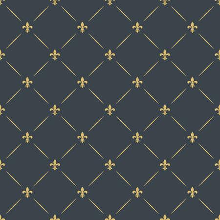 高級シームレスなパターン背景。斜めの黄金の紋章のシンボルの花飾り