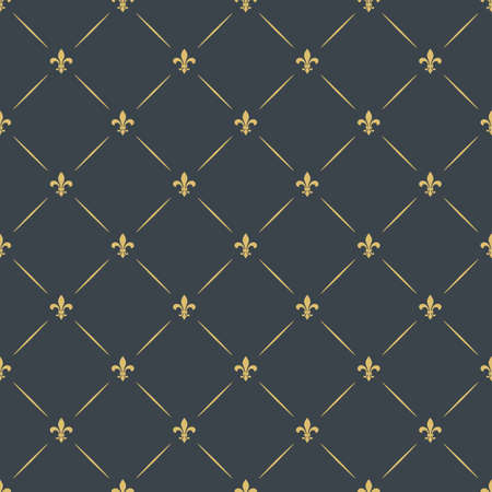 heraldic symbol: luxury seamless pattern background. floral ornament with diagonal golden heraldic symbol