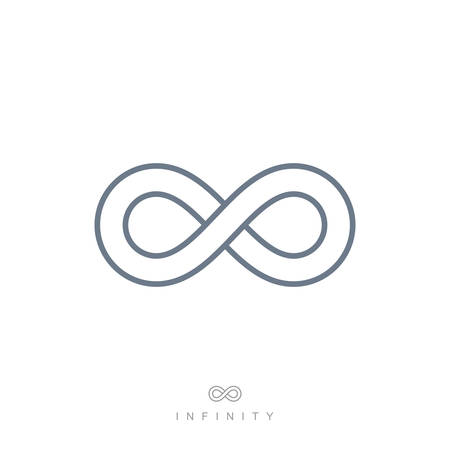 infinite symbol: thin line infinity symbol or sign. linear infinite icon. limitless emblem concept in modern flat outline style. isolated on white background.