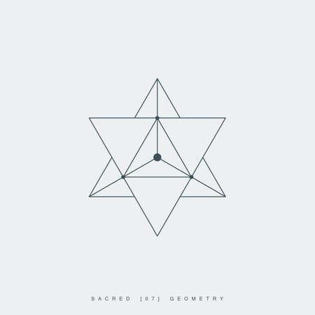 sacred geometry. merkaba thin line geometric triangle shape. esoteric or spiritual symbol. isolated on white background.