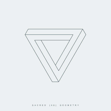 sacred geometry. thin line penrose triangle. impossible geometric shape. optical illusion. esoteric or science symbol. isolated on white background. Çizim