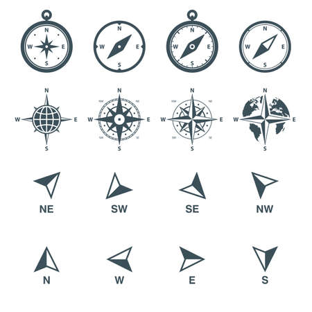 navigation icons set. compass, wind rose and direction arrows. isolated on white background.
