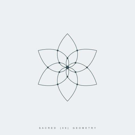 flower of life. sacred geometry. lotus flower. mandala ornament. esoteric or spiritual symbol. isolated on white background.  イラスト・ベクター素材