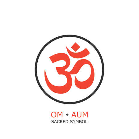 aum: om symbol, aum sign. isolated on white background.