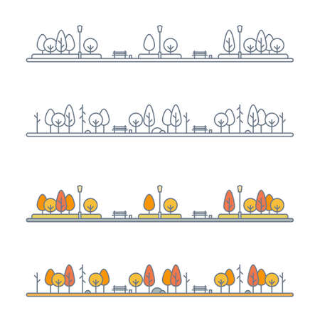 autumn park landscape with yellow, orange and red trees. city park or alley with bright foliage trees. flat outline style. isolated on white background. vector illustration