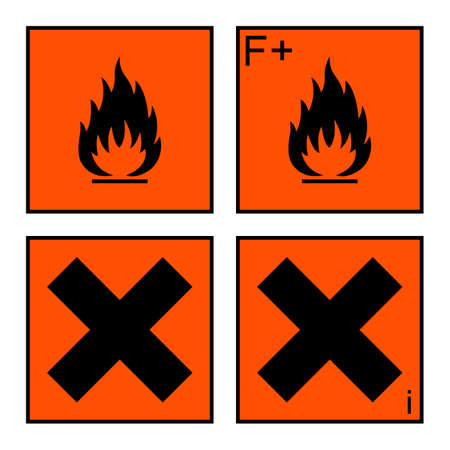 combustible: extremely flammable and harmful sign or symbol on orange rectangle. extremely flammable, harmful and irritant labels. isolated on white background. vector illustration