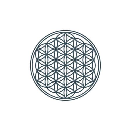 thin line flower of life. mandala ornament. sacred geometry. esoteric or spiritual symbol. geometric line art shape. isolated on white background. vector illustration