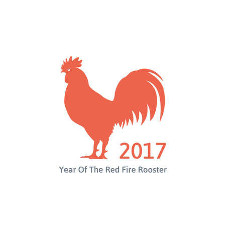 red fire rooster symbol of 2017 on the chinese calendar. silhouette of red rooster. isolated on white background. vector illustration