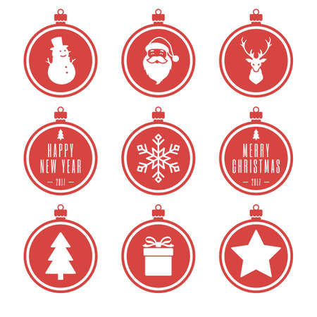 red christmas balls set. christmas ball with santa claus, reindeer, present, tree, snowman, snowflake. isolated on white background. vector illustration