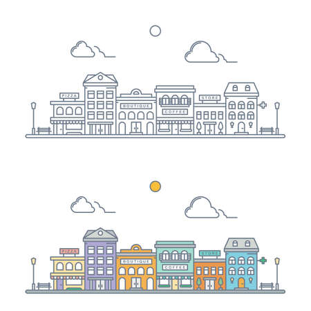 thin line town landscape concept. linear cityscape. small town street scene with store, hotel, pizzeria, boutique, coffee shop, pharmacy. flat outline style. isolated on white background. vector illustration