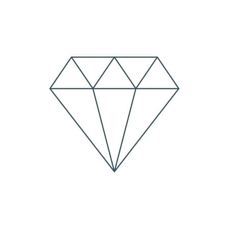thin line diamond icon or symbol. jewelry outline emblem. isolated on white background. vector illustration