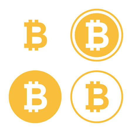 bitcoin icon set. digital currency symbol. golden coin with bitcoin sign. isolated on white background. vector illustration