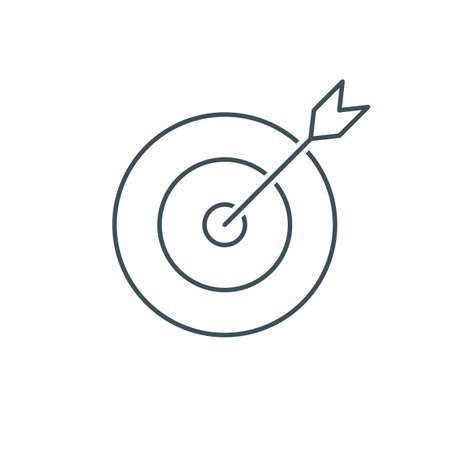thin line target icon. outline advantage icon. successful shot in the darts target. isolated on white background. vector illustration Illustration