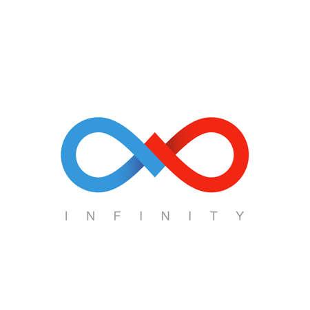 oneindig symbool of teken. oneindig pictogram. onbeperkte mobius strip. bedrijfs communicatieconcept. geïsoleerd op witte achtergrond. vector illustratie