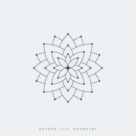 line lotus flower or flower of life. sacred geometry. mandala ornament. esoteric or spiritual symbol. isolated on white background. vector illustration Ilustração