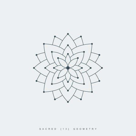 line lotus flower or flower of life. sacred geometry. mandala ornament. esoteric or spiritual symbol. isolated on white background. vector illustration Illustration