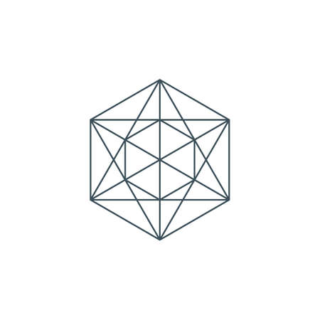line metatrons cube. sacred geometry. linear pentagram sign or symbol. esoteric or spiritual symbol isolated on white background.
