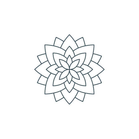 Line lotus flower or flower of life. Sacred geometry, mandala ornament. esoteric or spiritual symbol isolated on white background. Ilustração