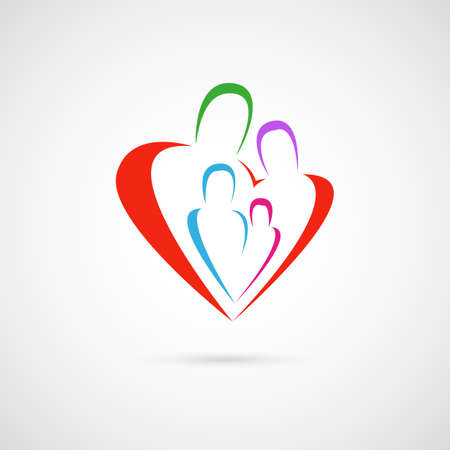 family symbol or sign, parents with children emblem, placed in a red heart shape. vector illustration