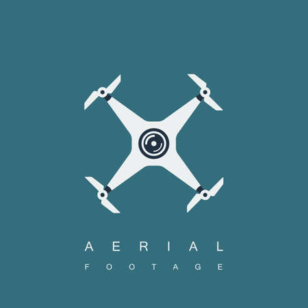drone or quadrocopter icon with camera. aerial photography or footage concept. isolated on blue background.